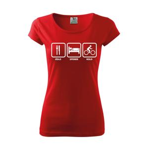 Dámské tričko Jídlo-spánek-kolo ukáže všem, kam vás vaše srdce táhne