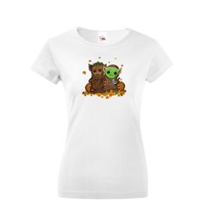 Dámske tričko Mistr Yoda a Groot - ideální pro každou fanynku