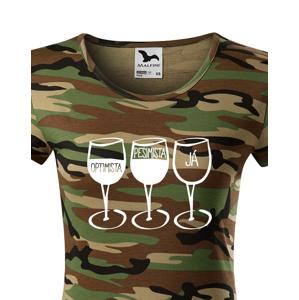 Dámské tričko s vtipným potiskem Pesimista, optimista, já