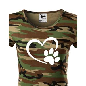 Dámské tričko se psí packou a srdíčkem - ideální dárek