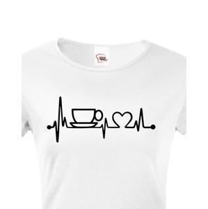 Dámské tričko Srdeční tep káva - triko pro milovnice kávy