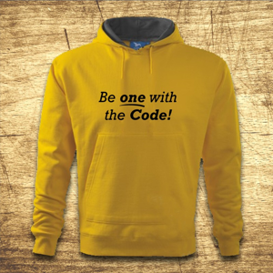 Mikina s kapucňou s motívom Be one with the code!
