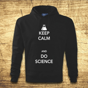 Mikina s kapucňou s motívom Keep calm and do science