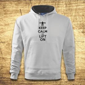 Mikina s kapucňou s motívom Keep calm and lift on
