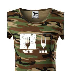 Pánská tričko s potiskem Plastic vs Metal - parodie na metalová trička