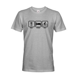 Pánské tričko Jídlo-spánek-kolo ukáže všem, kam vás vaše srdce táhne