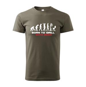 Pánské tričko s potiskem Narozen pro grilování - triko ocení každý mistr grilu