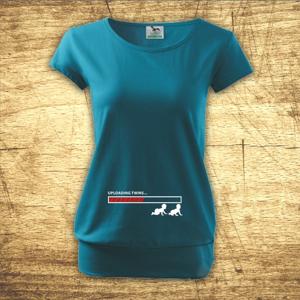 Těhotenské tričko s motivem Uploading twins...